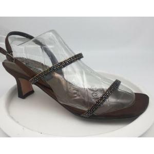 STUART WEITZMAN  Bronze Slip On Ankle Strap heels